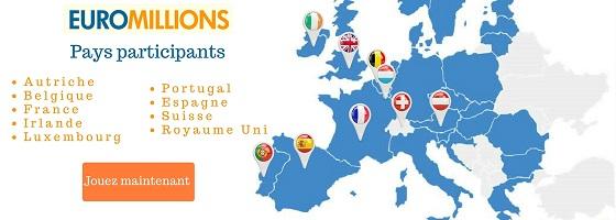 Les pays participants à l'EuroMillions
