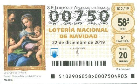 ticket gagnant Loteria de Navidad